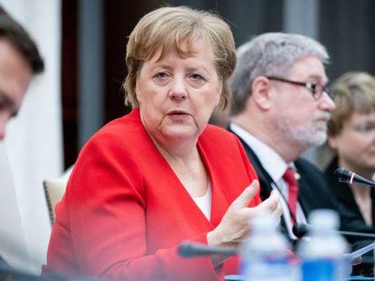 Merkel se pronuncia durante uma reunião nesta quinta-feira com o Governo sul-africano em Pretória.