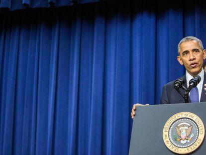 O presidente Barack Obama durante um ato na Casa Branca, em 14 de dezembro.