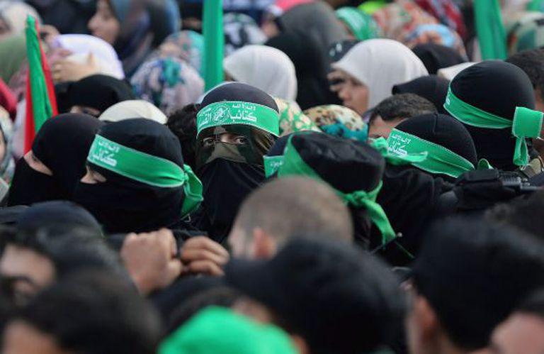 Simpatizantes do Hamas fazem passeata em Gaza.