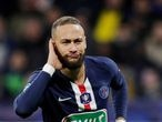 FILE PHOTO: Soccer Football - Coupe de France - Semi Final - Olympique Lyonnais v Paris St Germain - Groupama Stadium, Lyon, France - March 4, 2020  Paris St Germain's Neymar celebrates scoring their second goal from the penalty spot    REUTERS/Benoit Tessier/File Photo