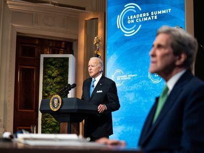 Joe Biden, presidente dos EUA, se pronuncia no último dia da cúpula do clima.