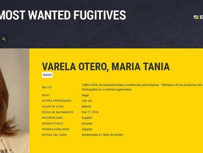 Ficha policial de Tania Varela.