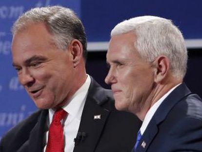 Candidato republicano à vice-presidência evita defender o magnata contra os ataques do democrata Tim Kaine
