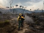 PARA, BRAZIL, 03/09/2019 -  Members of the IBAMA forest fire brigade (named Prevfogo) fight burning in the Amazon area of rural settlement PDS Nova Fronteira, in the city of Novo Progresso, Para state, northern Brazil, this Tuesday, September 3rd. Since the end of August Prevfogo has been acting with the assistance of Brazilian Army military. Bolsonaro government budget cuts since January 2019 have severely affected brigades, which have been reduced in critical regions such as the Amazon. (Photo by Gustavo Basso/NurPhoto via Getty Images)