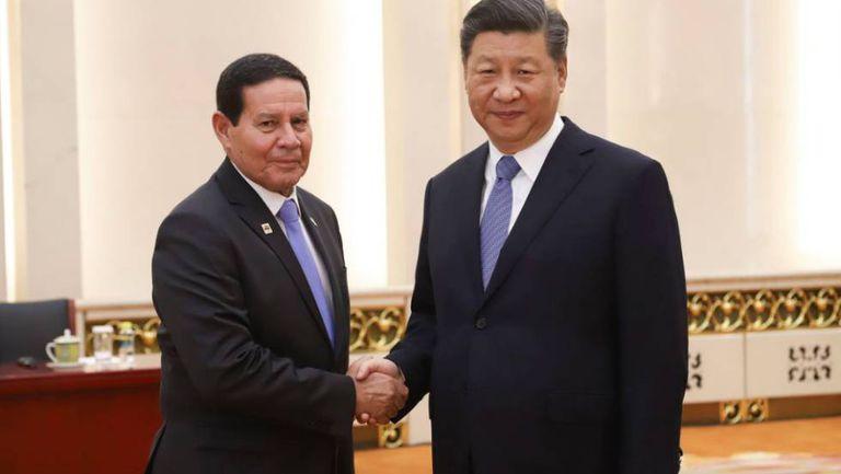 O vice Mourão e presidente da China, Xi Jinping.