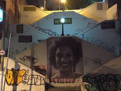 A imagem de Marielle Franco, assassinada em 14 de março de 2018, na escadaria da Rua Cristiano Viana, no bairro de Pinheiros, em São Paulo