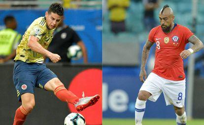 James e Vidal, esperanças colombiana e chilena na Copa América.