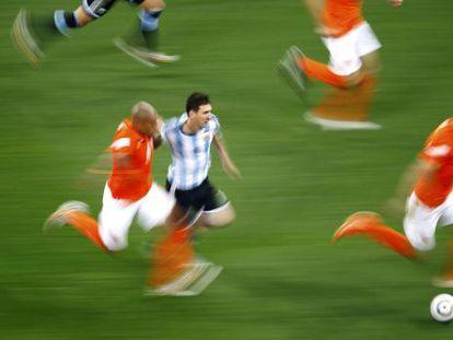 Messi no jogo contra a Holanda, na quarta-feira. Uma ampla análise estatística nos EUA explica por que ele é o melhor jogador do mundo.