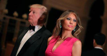 Donald Trump e Melania Trump, em uma festa no clube Mar-a-Lago, em Miami