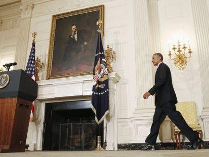 Obama, antes do anúncio sobre a intervenção no Iraque.