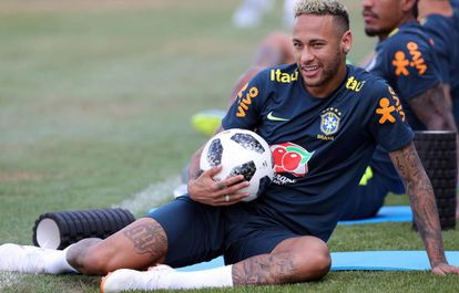 Neymar, em treinamento da seleção brasileira.