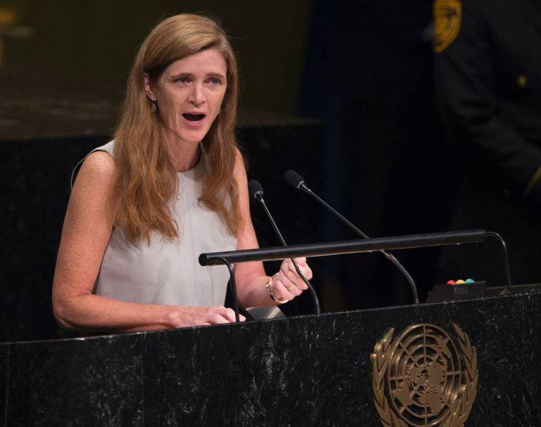 A embaixadora dos Estados Unidos na ONU, Samantha Power.