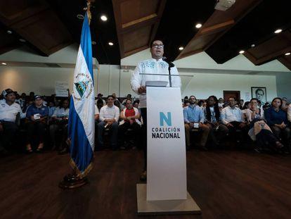O dirigente Yubrank Suazo na apresentação da Coalizão Nacional da Nicarágua, nesta terça-feira.