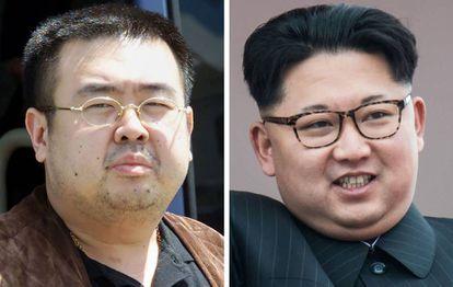 Fotos de Kim Jong-Nam e Kim Jong-Un.