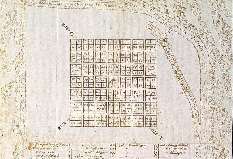 Planta de Esteco II (Nossa Senhora de Talavera de Madri), anônima e sem data. Indica a atribuição de lotes no traçado desta cidade.