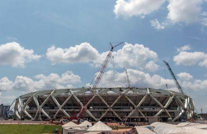 A obra da Arena Amazônia, em Manaus.