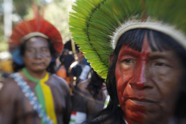 Indígenas no acampamento Terra Livre, em Brasília, no último dia 25.