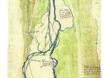 Mapa topográfico com os rios Arno e Mugnone, a Oeste de Florença (1504), aquarela de Leonardo da Vinci.
