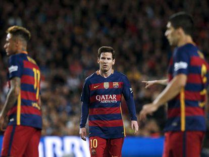 Neymar, Messi e Suárez, na derrota do Barça para o Valencia.