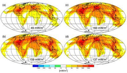 Os mapas mostram o aquecimento (medido em miliwatts por metro quadrado) induzido pelas 'contrails' em (a) 2006 e (b) 2050. À direita, a radiação estimada para o mesmo ano, mas considerando (c) o calor extra causado pelo aquecimento global ou (d) melhoria na eficiência dos motores.