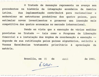 Mensagem em que o presidente Collor pede ao Congresso que ratifique o tratado do Mercosul.