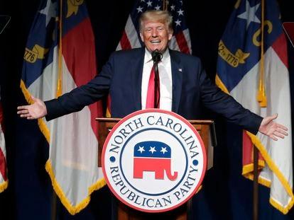 Donald Trump, ex-presidente dos Estados Unidos, durante seu discurso no sábado na Carolina do Norte.