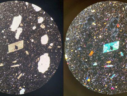 Imagem de um corte de lâmina de 3 milímetros de espessura da lava vista com um microscópio petrográfico. À esquerda com uma única passagem de luz, à direita, com duas.