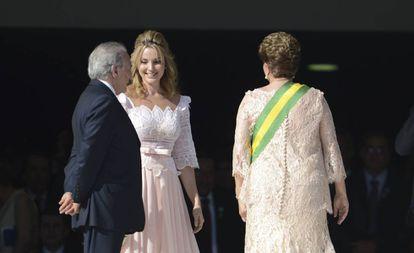 Michel Temer, Marcela Temer e Dilma Rousseff (janeiro de 2015).