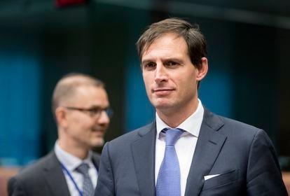 O ministro das finanças holandês, Wople Hoekstra, em uma reunião da Zona do Euro em 2017.
