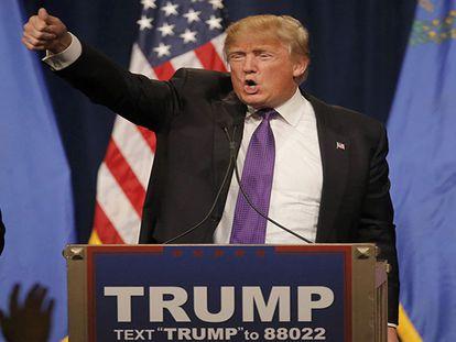 Donald Trump celebra sua vitória em um hotel de Las Vegas. REUTERS