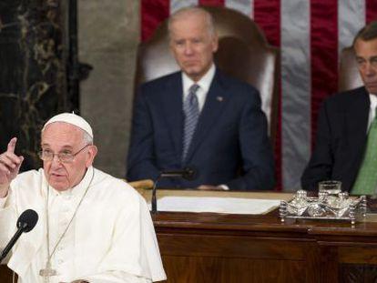 O papa Francisco no Congresso dos Estados Unidos nesta quinta-feira.