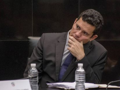 O juiz Sergio Moro no Senado mexicano.