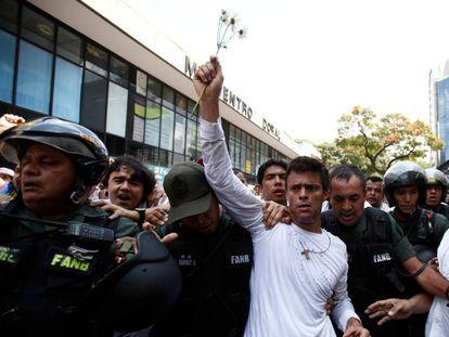 Leopoldo López durante uma manifestação