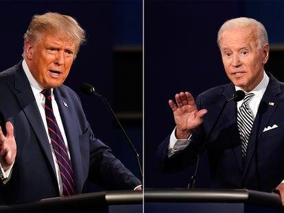 Trump e Biden durante o debate desta terça.