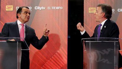 Zuluaga e Santos, em um momento do debate.