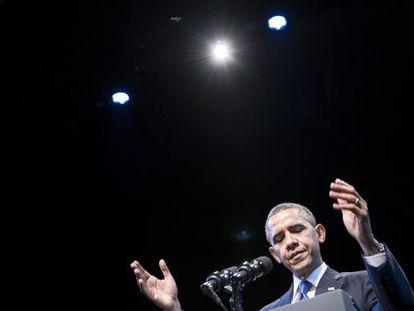 Barack Obama, durante seu discurso hoje em Washington.