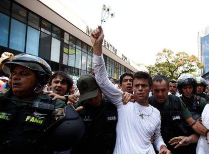 Leopoldo López em um protesto.