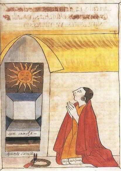 Ilustração da crônica de Martín de Murúa que mostra o inca Pachacútec e o deus do sol, Inti.