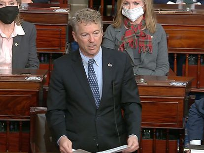 O republicano Rand Paul no Senado dos EUA.