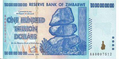 Nota de 100 trilhões de dólares zimbabuanos.