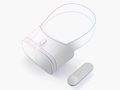 Protótipo de óculos e comando do Daydream do Google.