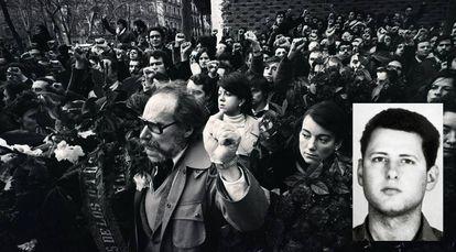 Marcha depois da matança dos advogados de Atocha. García Juliá, em miniatura.