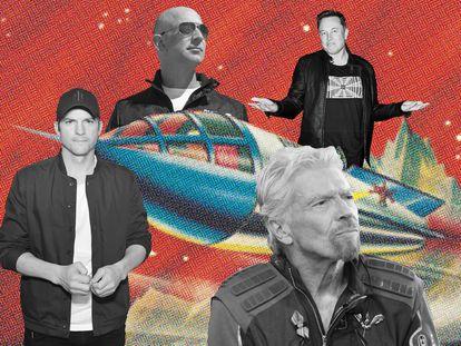 Ashton Kutcher, uma das celebridades que demonstraram interesse em participar dos voos espaciais, Jeff Bezos, Richard Branson e Elon Musk, os três empresários que disputam para serem os embaixadores de uma nova era de viagens espaciais ao alcance de todos (os que puderem pagar).