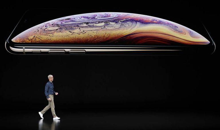 O executivo-chefe da Apple, Tim Cook, na apresentação do iPhone em setembro de 2018.
