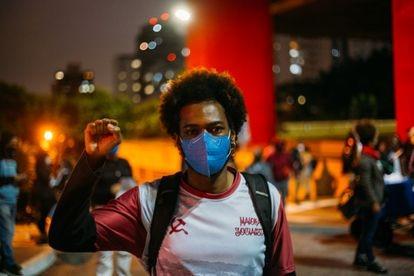 Wellington Amorim, de 26, participa de protesto contra o racismo em São Paulo.