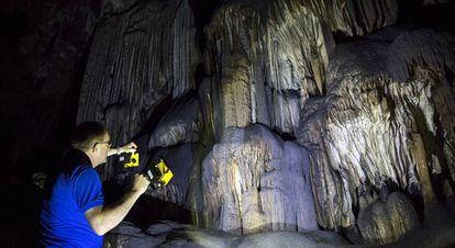 Um pesquisador observa as paredes da Gruta de Ardales.