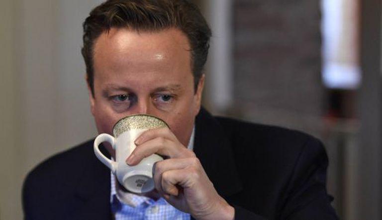 O primeiro-ministro, durante um ato de campanha em Gales.
