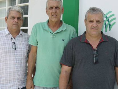 Os fazendeiros Renato Frossard (esq), Flavio Frossard (centro) e Silvério Fernandes (dir).