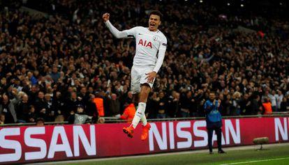 Dele Alli comemora seu segundo gol diante do Real Madrid.