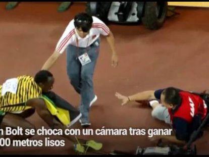 Usain Bolt, atropelado por um cinegrafista quando festejava o triunfo
